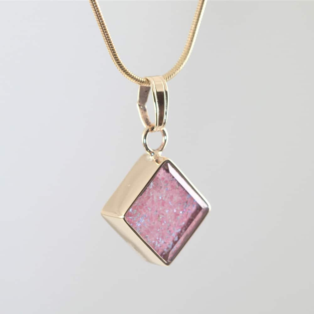 Crystal Glass Square Pendant - Gold & Pink