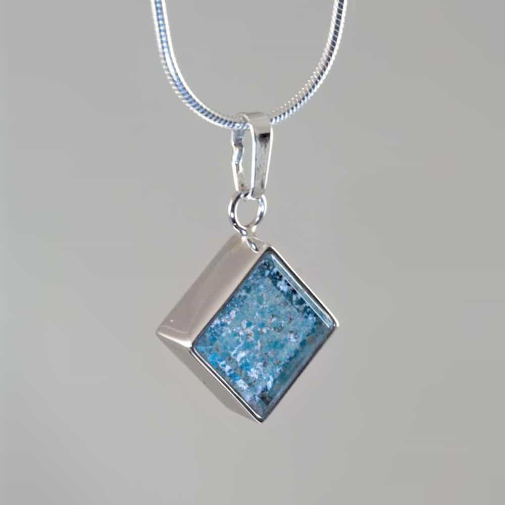 Crystal Glass Square Pendant - Silver & Blue