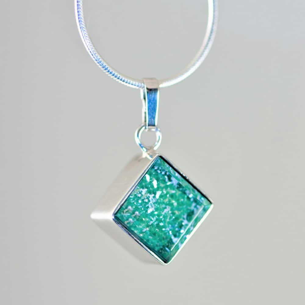Crystal Glass Square Pendant - Silver & Green