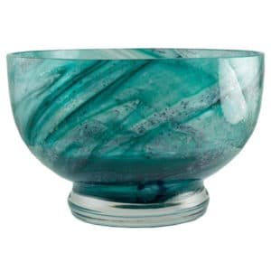 Ashes in Crystal Bowl Art Swirl - Green