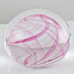 Crystal Paperweight with Swirled Colour Incorporating Ashes