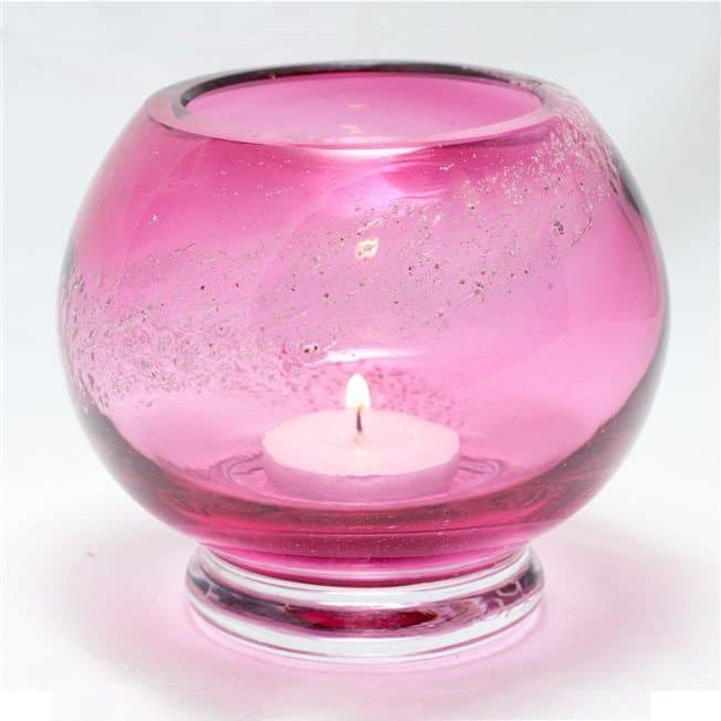 Tealight Candle Holder Solid Colour - Cranberry