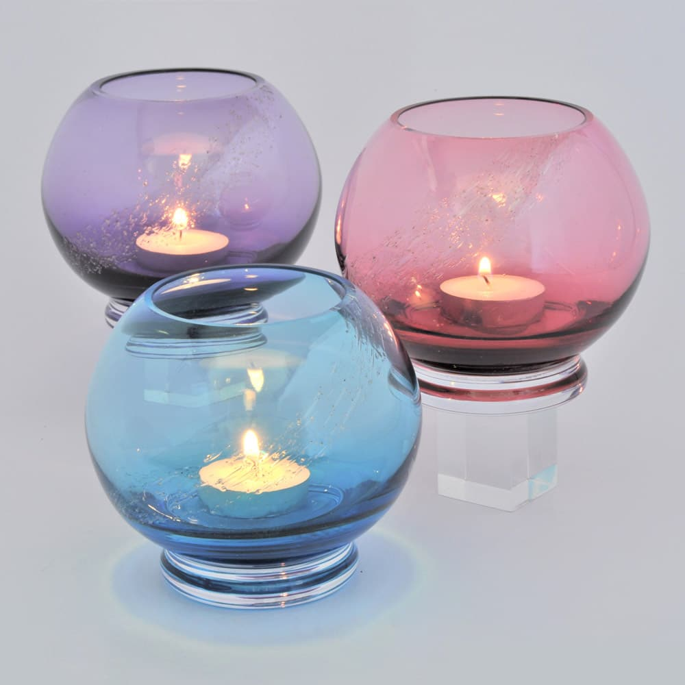 Tealight Candle Holder - Aqua, Cranberry, and Hyacinth