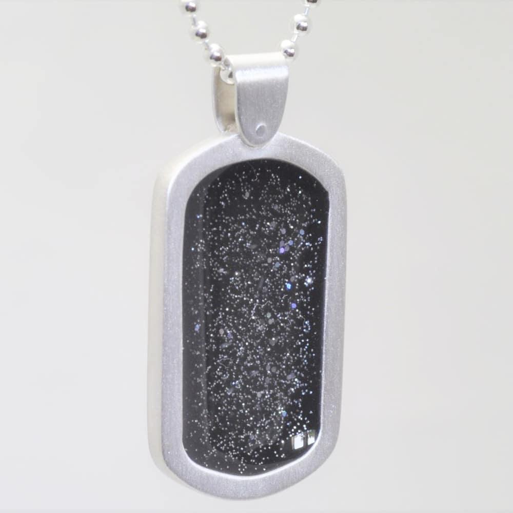 Crystallure Silver Dog Tag - Black