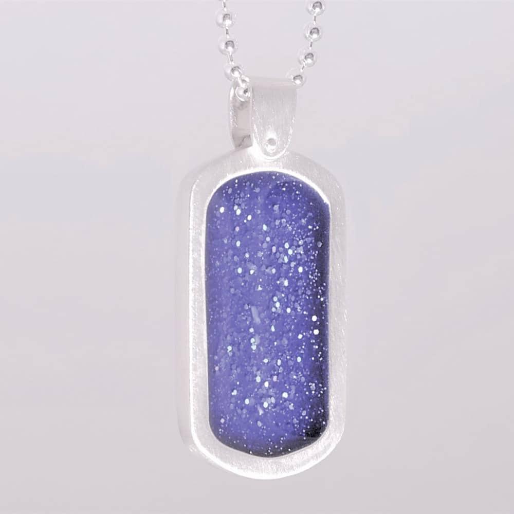 Crystallure Silver Dog Tag - Blue