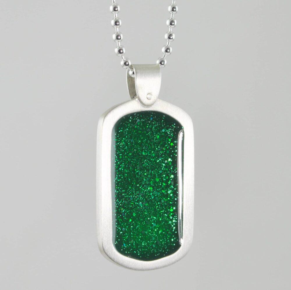Crystallure Silver Dog Tag - Green