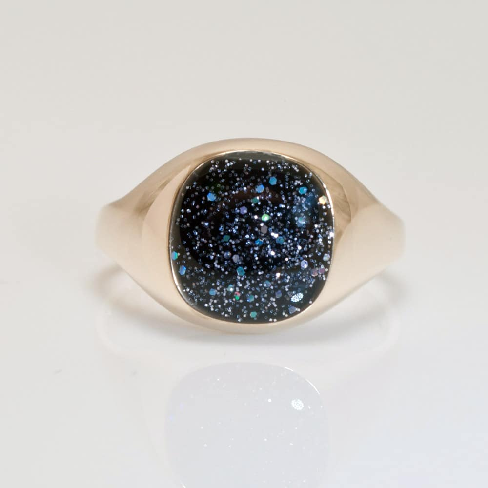 Crystallure Signet Ring - Gold & Black