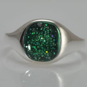 Crystallure Signet Ring - Silver & Green