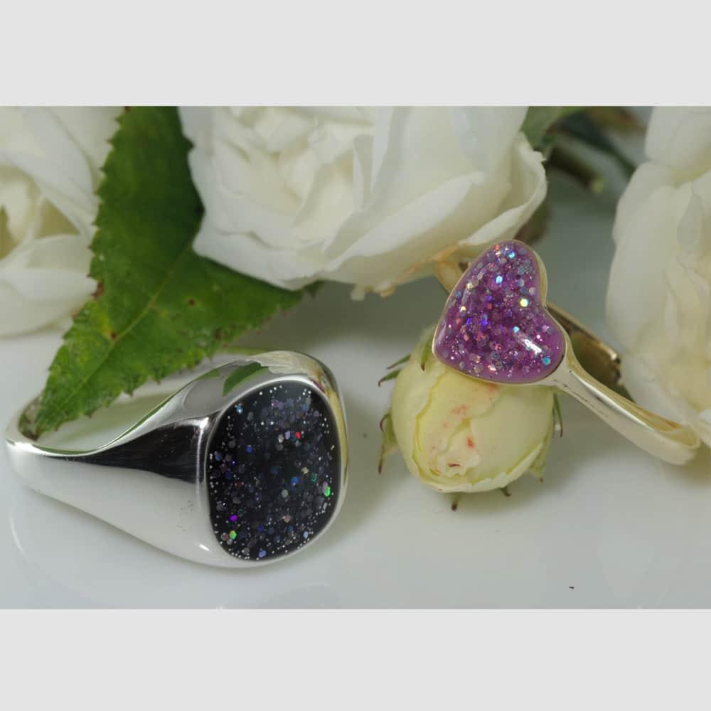 Crystallure Signet Ring & Heart Ring