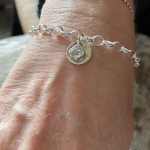 Memorial Belcher Chain Birthstone Bracelet With Ashes Imprinted Disc
