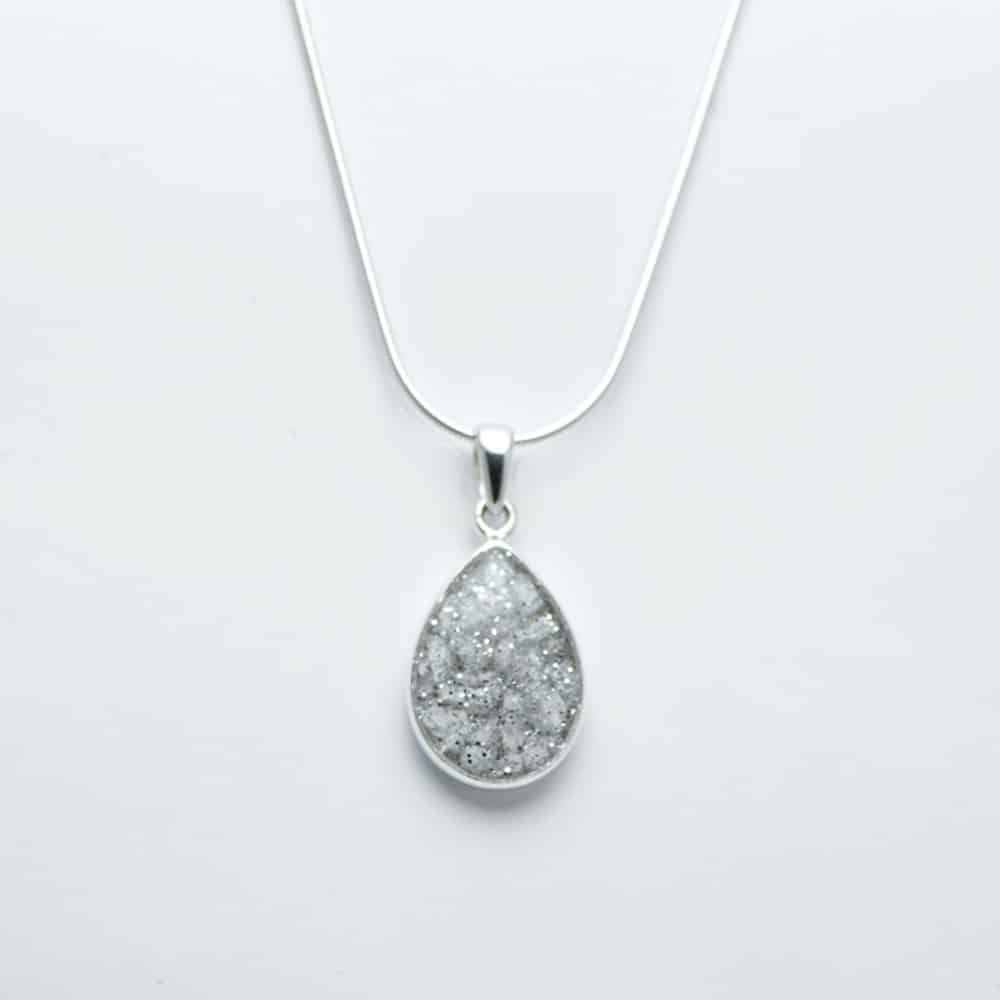 Sterling Silver Crystarosin Teardrop Inlaid Memorial Pendant