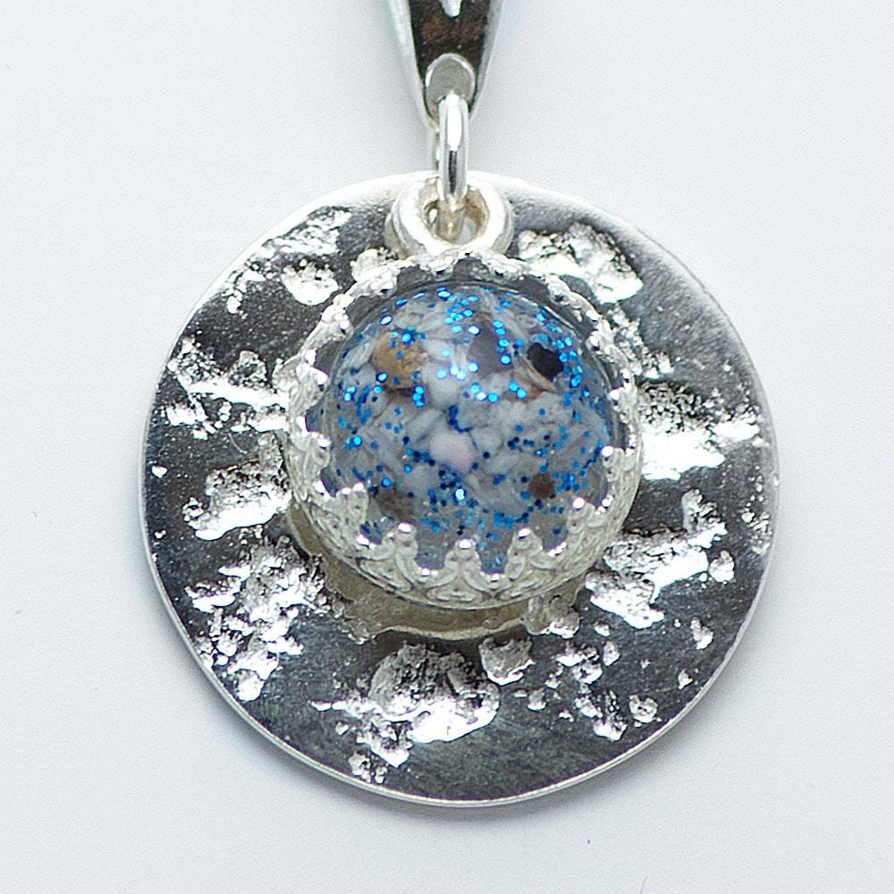Silver Disc Gem Memorial Pendant