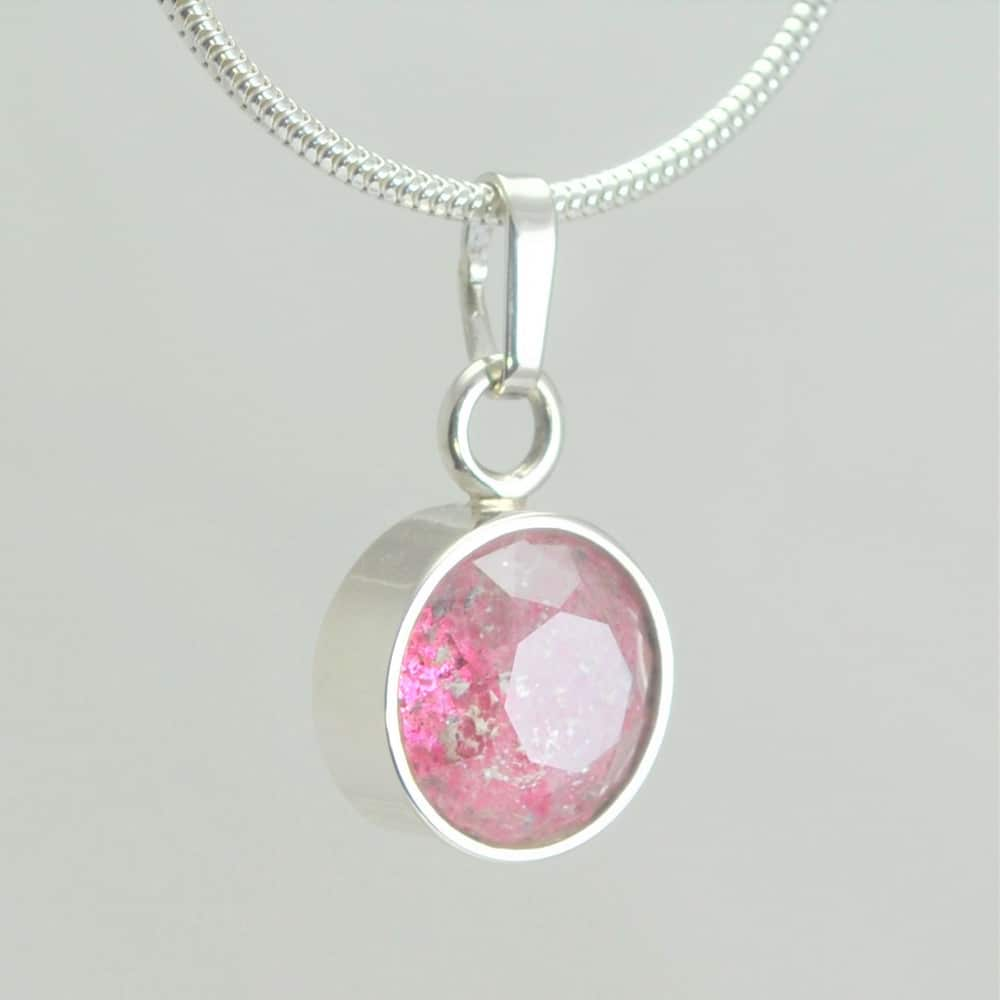 Small Faceted Round Pendant - Pink