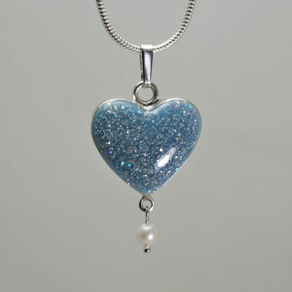 Crystallure Heart - Silver with Aqua