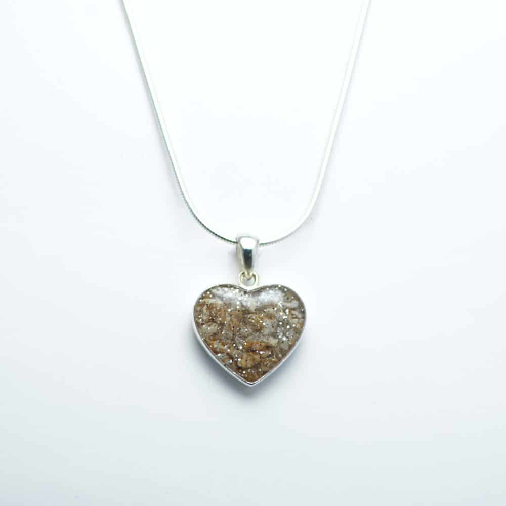 Silver Inlaid Crystarosin Heart Memorial Pendant