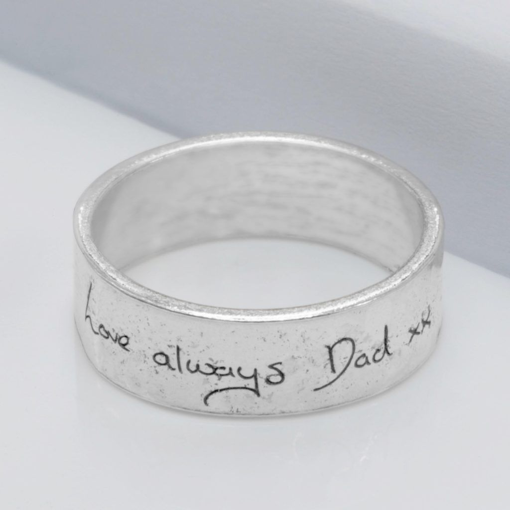 Handwriting memorial ring front view