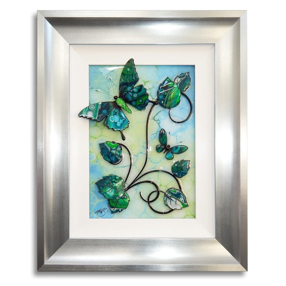 Butterfly - Green, Turquoise, and Silver