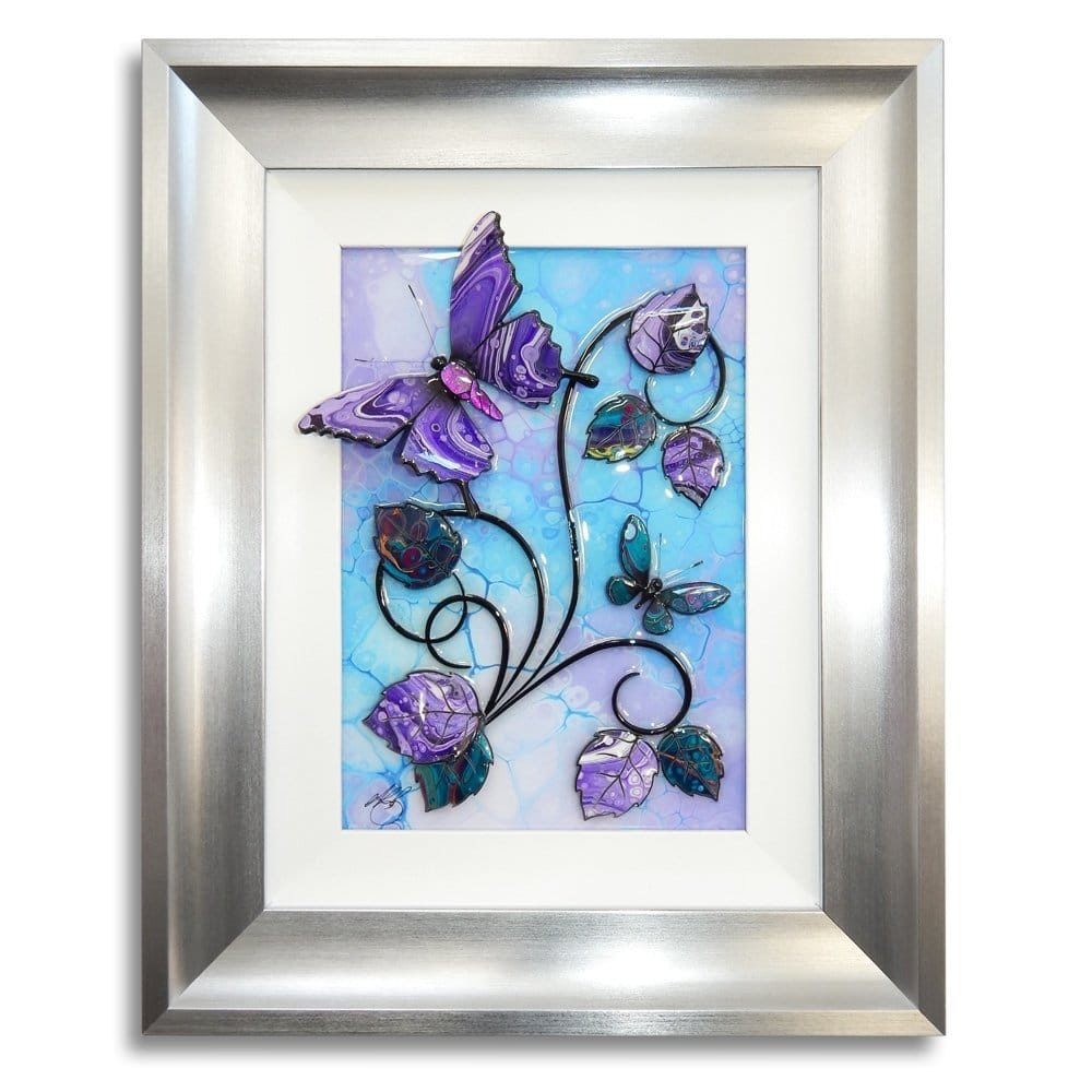 Butterfly - Turquoise, Purple, and Silver