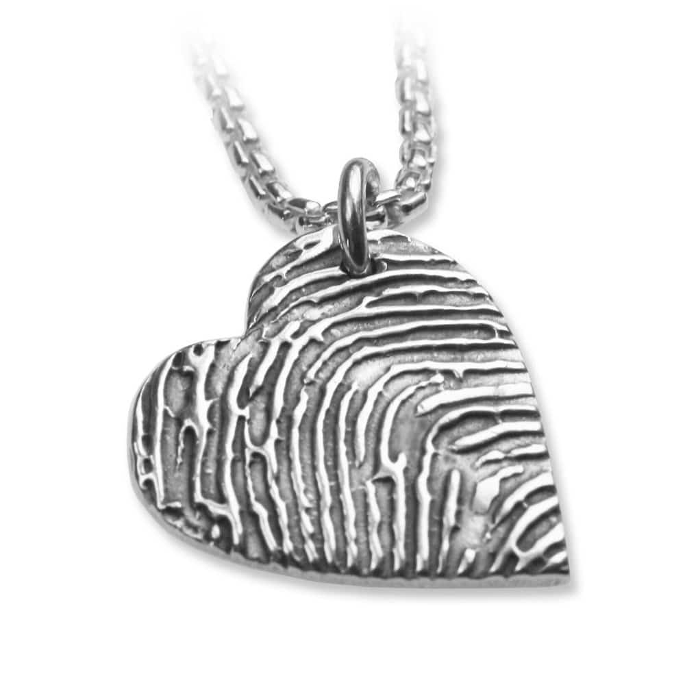 Fingerprint Heart Pendant, with Silverlink Chain