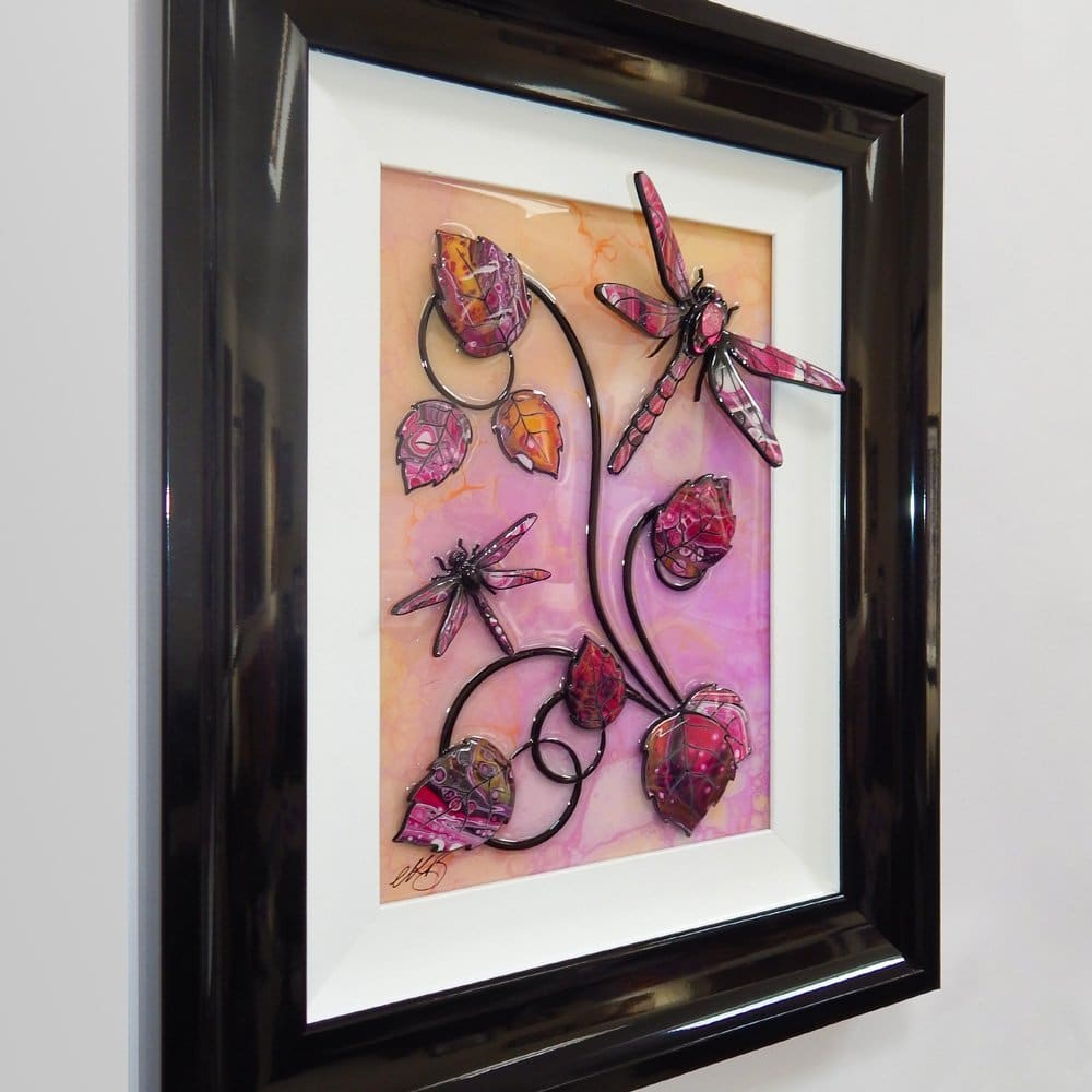 Dragonfly - Pink, Yellow, and Gold