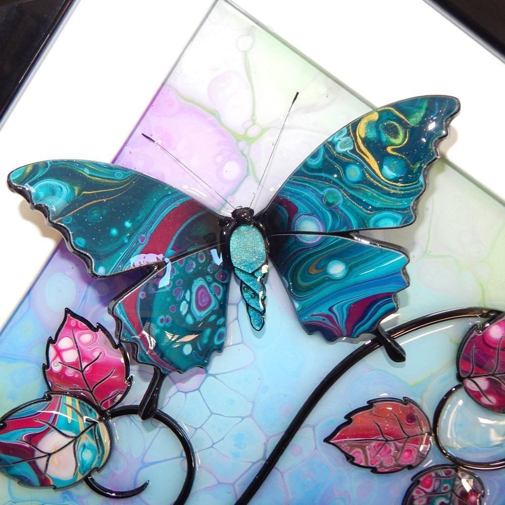 Butterfly - Turquoise, Pink, and Green