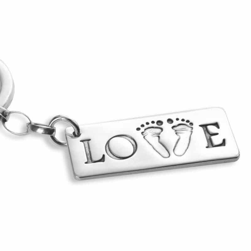 Double footprints on love keyring