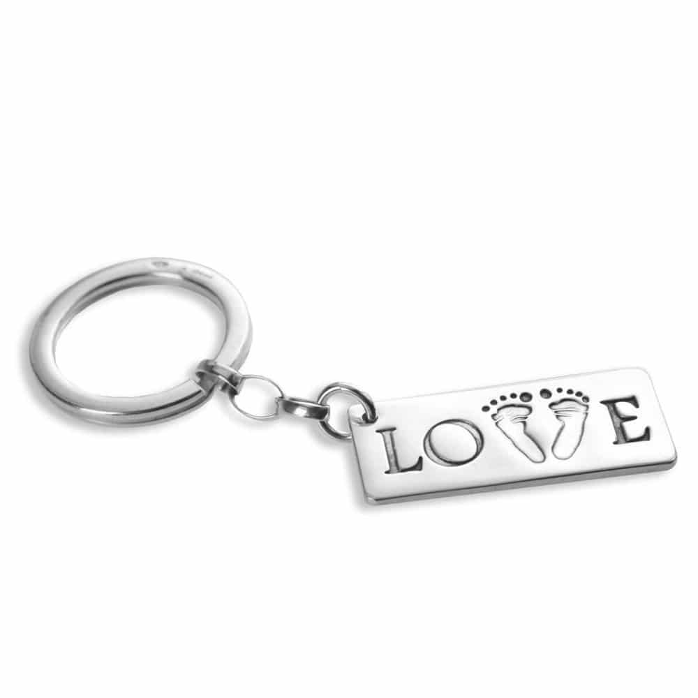 Double footprints on love keyring