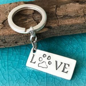 Pawprint 'Love' Keyring