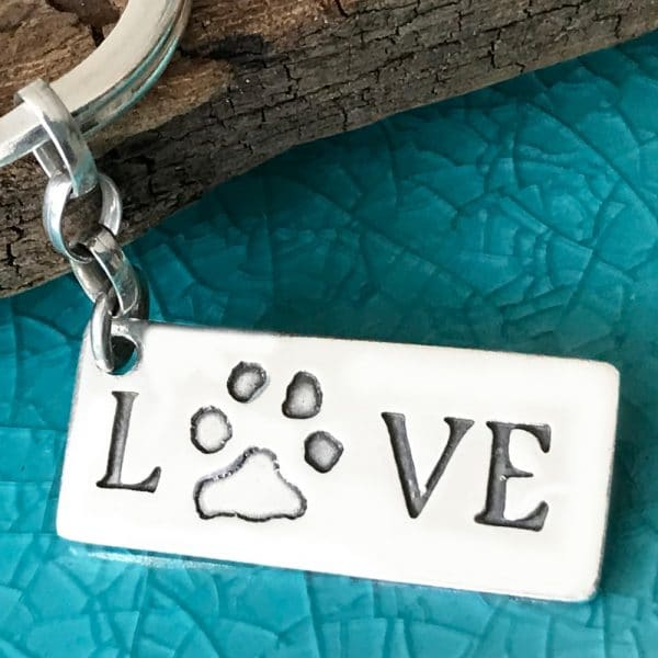 Pawprint 'Love' Keyring
