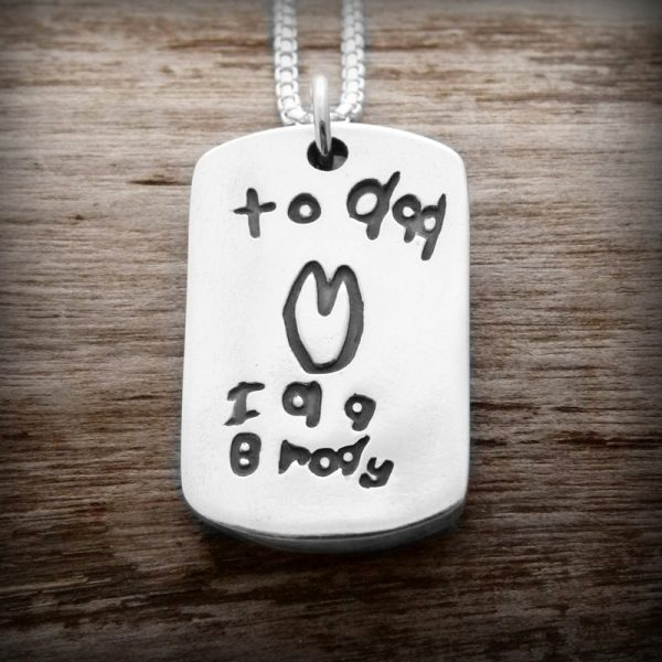 Handwriting on Dogtag with Silverlink Chain
