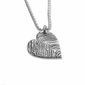 Fingerprint Heart Pendant, with Silverlink Chain