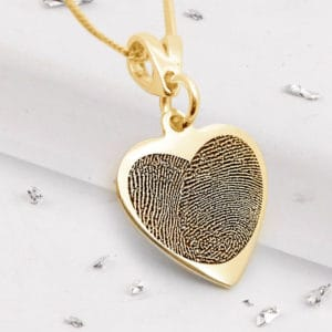 Fingerprint Heart Pendant - Yellow Gold