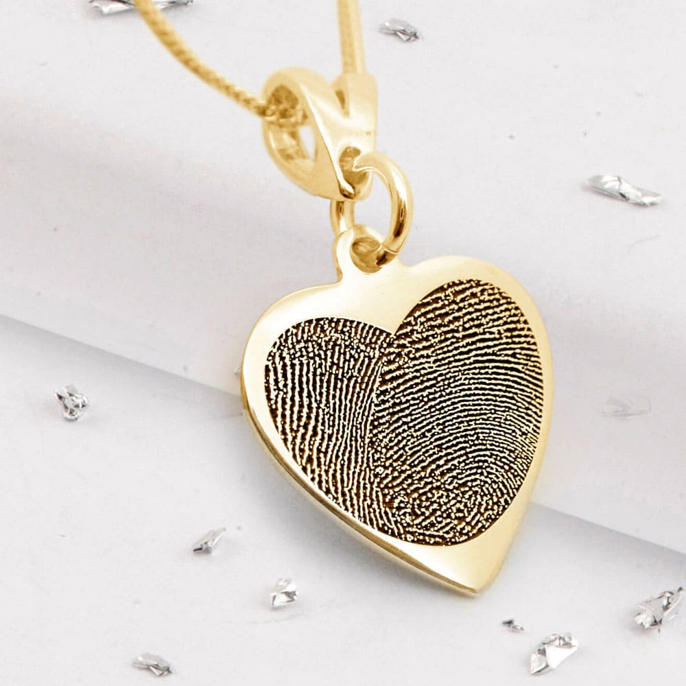 Fingerprint Heart Pendant - Yellow Gold
