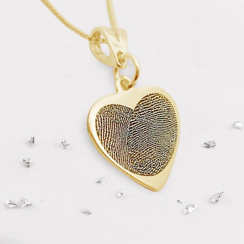 Fingerprint Heart Pendant - Gold