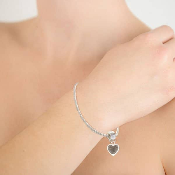 Silver Fingerprint Heart Charm