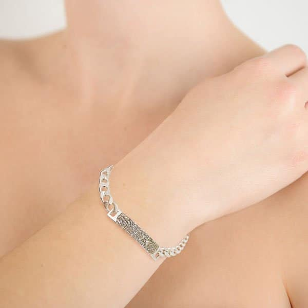 Silver Fingerprint ID Bracelet