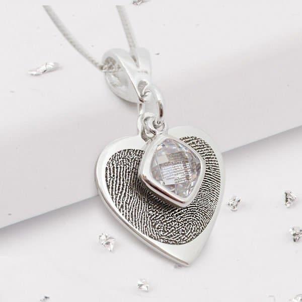 Fingerprint Birthstone Heart Pendant