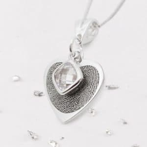 Fingerprint Birthstone Heart Pendant