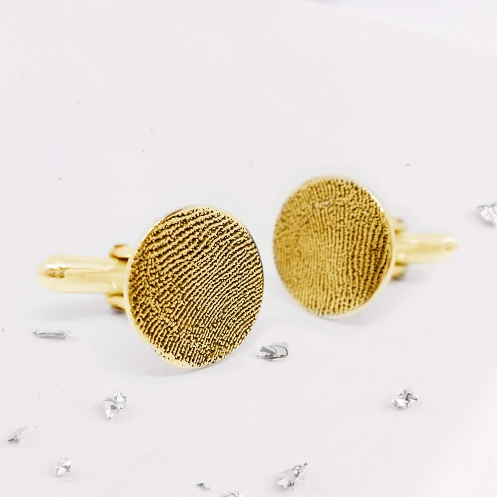 Fingerprint Round Cufflinks - gold