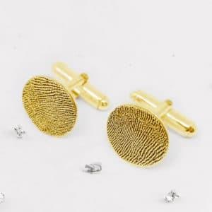 Fingerprint Round Cufflinks - gold
