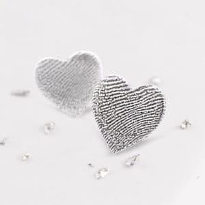 Fingerprint Heart Studs