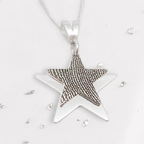Fingerprint Layered Star Pendant