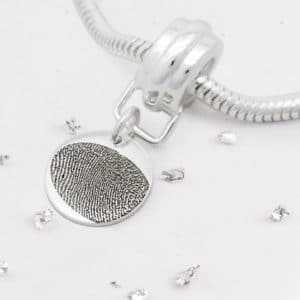 Silver Fingerprint Round Disc Charm