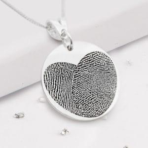 Fingerprint Round Heart Pendant