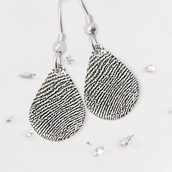 Fingerprint Teardrop Earrings