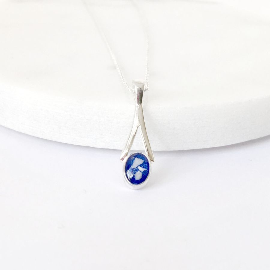 Oval Memorial Ashes Pendant, Cremation Ashes