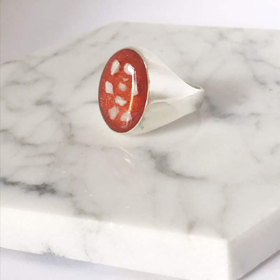Men's Cremation Ashes Sterling Silver Memorial Signet Ring