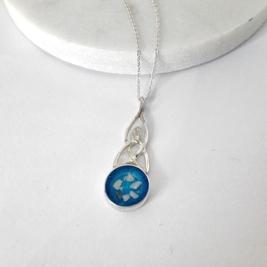 Celtic Round Memorial Cremation Ashes Necklace