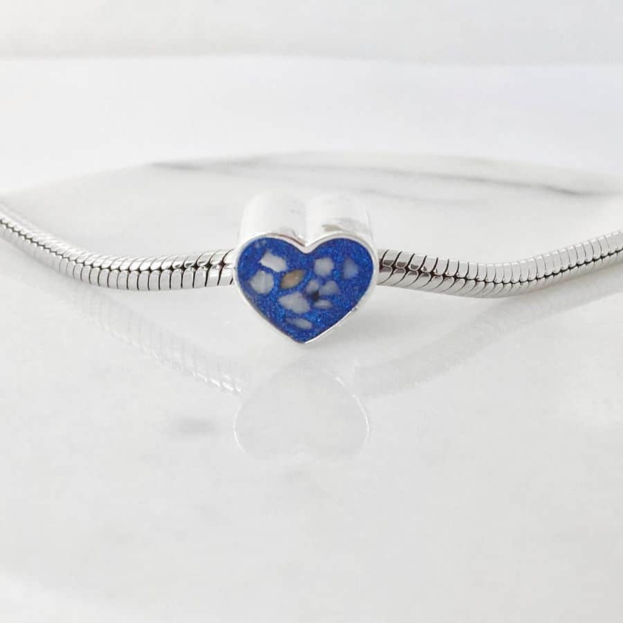 Memorial Heart Charm Bead for Cremation Ashes or Hair