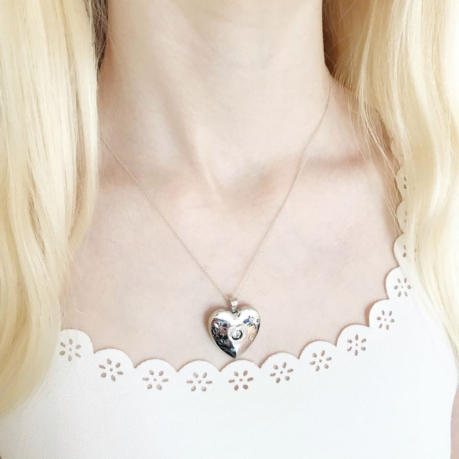 Sterling Silver Moving CZ Heart Memorial Ashes & Photo Locket